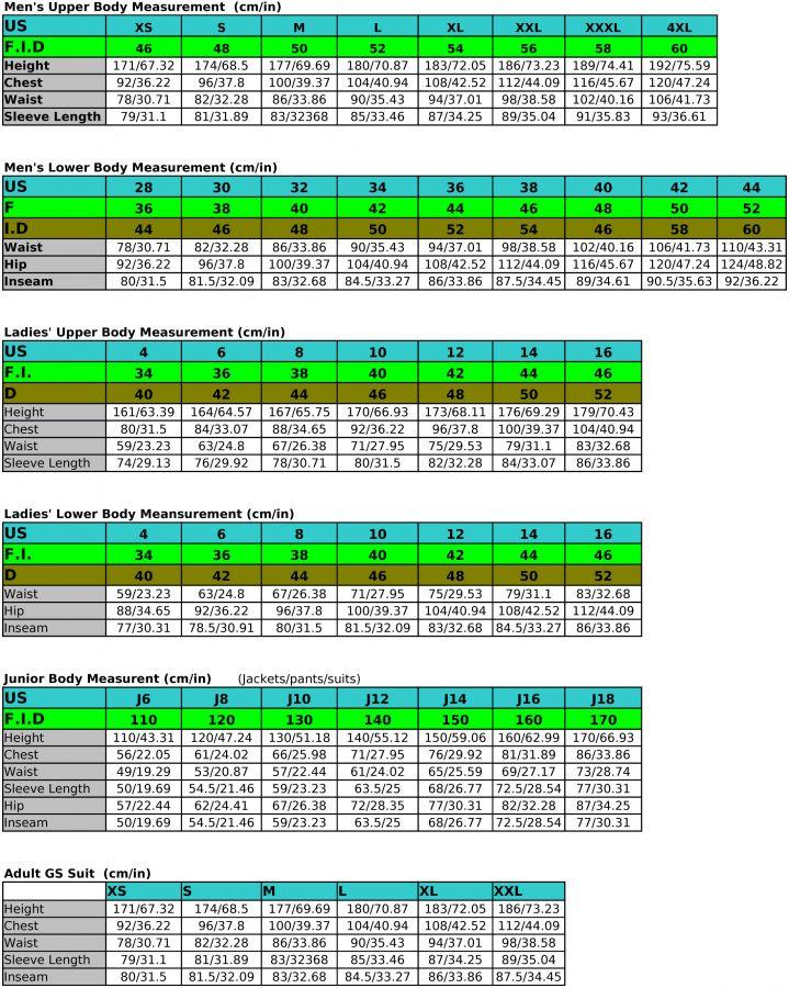 Descente international sizing chart